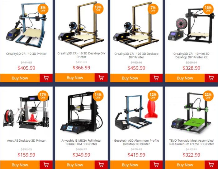 3D tiskárny na Gearbestu